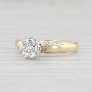 Vintage 0.23ctw Diamond Flower Engagement Ring 14k Gold Size 5.75 Cluster