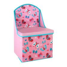 Storage Box Seat Butterfly Design MDF & Polyester Kids Room Chest Organizer