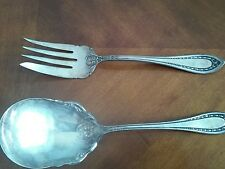 """Vintage Extra Coin Silver Plate 8"""" Serving Fork And Spoon Set"""