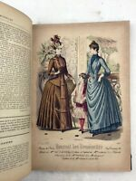 1888 Journal des demoiselles fashion hand coloured plates Victorian magazine