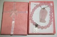 Rose Quartz Hand-Craved Angel Necklace & Beaded Bracelet Set