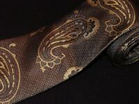 New Bachrach Tie Black Gold Paisley Slim Woven Luxury Designer Necktie Mens Silk