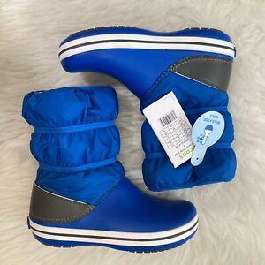 Crocs Crocband Winter Boot K Size Junior 4 Kids Cobalt Blue Light Grey Croslite