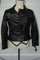 michael kors black genuine leather moto biker jacket size m