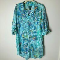 Lauren Ralph Lauren Women's Shirt Dress Tunic Top Size XL Beach Swim Coverup
