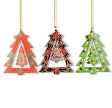 3 Spinning Christmas Tree Wooden Ornaments