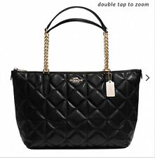 NWT COACH AVA CHAIN TOTE IN BLACK QUILTED LEATHER PURSE