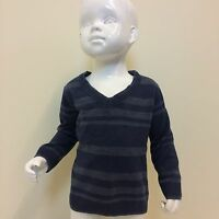 M&S Boys Blue Navy Striped Knitted Double V Collar Jumper UK Size 12-18 Months