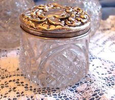 Victorian Vtge MARKED ENGLISH Sterling Silver DRESSER JAR cut crystal Vanity