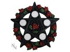 Pentagram Rose Tealight Candle Holder Wicca Pagan Nemesis Gothic Decor Gift