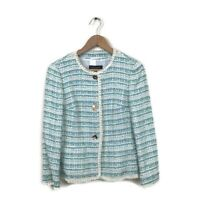 ESCADA Jacket 34 Blue Green White Lagoon Tweed Blazer Women's NWT Career Bozaka