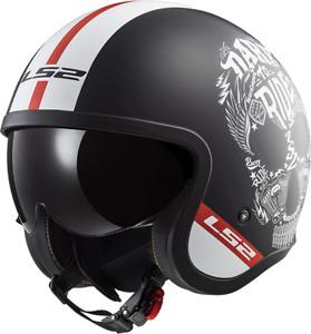 LS2 OF599 SPITFIRE INKY matt schwarz weiß Helm Open Face Totenkopf Ride