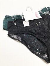 NWT Jessica Simpson Panties Bikini 2Pack SizeM Black Emerald Green Lace Mesh