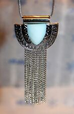 INC Silver Tone Snake Chain Baby Blue Tribal Fringe Drop Necklace NWT $34