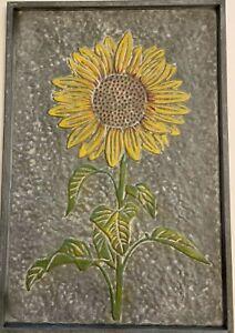 Galvanized Metal Outdoor Wall Art Sunflower 20.5 x 14 in