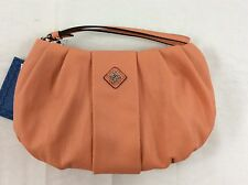 Simply Vera Wang Apricot Salmon Messina Wristlet Clutch Purse Bag Faux Leather