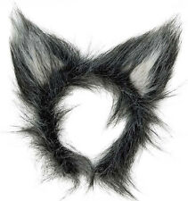 New Plush Grey Wolf Ears Big Bad Wolf Werewolf Halloween Fancy Dress Prop