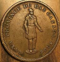 1837 LOWER CANADA ONE PENNY BANK TOKEN DEUX SOUS - Quebec bank on ribbon