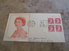 1954 Canada First Day Cover / FDC - 3c Queens Head Definitive - Block of 4