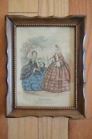"""Antique Wood Frame with lithography of """" Mirroir des Modes"""""""