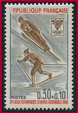 """1968 FRANCE N°1543** Ski Variété """"R"""" de REPUBLIQUE effacé, TTB. Error stamp MNH"""