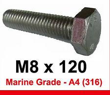 M8 x 120 MARINE Grade Stainless Steel Bolts 8mm x 120mm Hex Head x4 (A4/316)