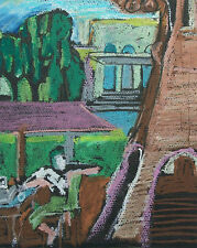 Vintage Cubist Style Oil Pastel Drawing on Paper - Unsigned - Mid 20th Century