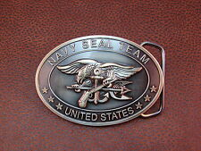 "U.S. NAVY SEAL TEAM ""The Only Easy Day Was Yesterday"" Brass Plated & Belt Buckle"