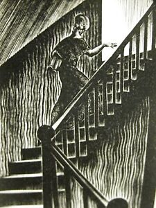 Lynd Ward 1930 WOMAN WALKING UP STAIRCASE Art Deco Print Matted