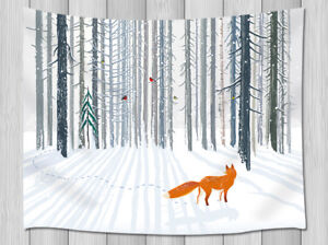 Winter Snow Forest Mountain Nature Tapestry Living Room Dorm Wall Hanging Rug