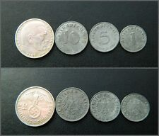 Set of German Nazi Reich coins - 2 Mark, 1, 5, 10 pfennig  with Swastika -S35