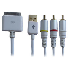 P45 1,5m 30pin Connector auf AV 3RCA + USB Video Kabel TV iPhone 4 3 iPod iPad 2