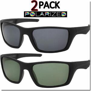 Polarized Mens Sunglasses Sport Wrap 2 Pack All Black Biker Style OG Polar Look