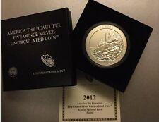 2012-P Acadia Maine 5oz Silver Quarter-Satin Proof-Like Finish w/US Mint Box/COA
