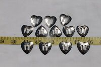 Slotted Western Heart Silver Color Conchos Crafts Leathercraft  1 inch/12pcs