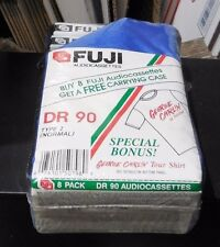 A LOT OF 8 FUJI DR 90 SEALED BLANK AUDIO  CASSETTE TAPE WITH FREE CARRYING CASE