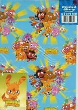 Moshi Monsters Gift Wrap Wrapping Paper 2 Sheets+Tag Kids Party (Pack of 12)