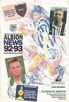 Football Programme - WBA v Plymouth Argyle - Div 2 - 12/4/1993