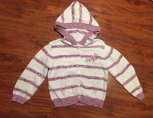 Gymboree Girls Hooded Striped Cardigan Sweater White Purple Pink Size 4