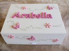Beautiful Large Personalised Memory Box.Baby Birth,Christening.Flower Girl