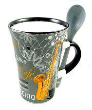 GREY SAXOPHONE Cappuccino Mug & Spoon Sax Player Coffee Cup Present Music Gift