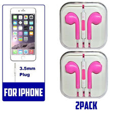 2 pink Generic Headset Earphones Earbuds Headphone With Microphone for