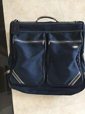 "Vintage Oleg Cassini Blue Garment Bag Bi Fold Luggage Travel Bag 44""X 24"" Sturdy"