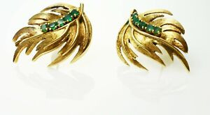 Stunning 14k Yellow Gold & Emerald Leaf Post Back Earrings ~ 11.3 Grams
