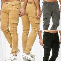 Herren Cargo Hose Cargohose Cordhose Casual Slim Outdoor Pants Freizeithose