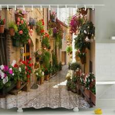 3D Flowers Alley Shower Curtain With Ring Hooks Waterproof Bathroom Hangin Decor