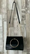 New Look Black & Gold Faux Leather Chain Strap Handbag Bag