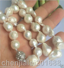 NEW 14-18mm SOUTH SEA WHITE BAROQUE PEARL NECKLACE 18""