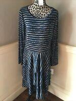 LuLaRoe Size 2XL Georgia Dress  Black Striped Tiered Ruffled Long Sleeves