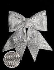 26cm Silver Diamante Bow - Christmas Tree Decoration (DP227)